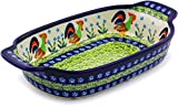 Polish Pottery Rectangular Baker with Handles 8-inch (Country Rooster Theme) Signature UNIKAT