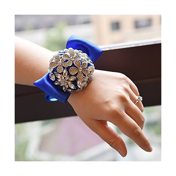 Abbie Home Handmade Luxury Sparkle Rhinestone Decorated Wrist Corsage for Wedding Prom Party Satin Rose Brooches (Royal Blue)