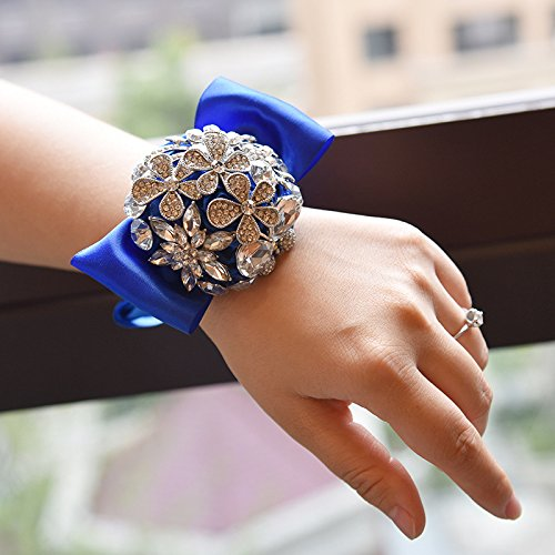 Abbie Home Handmade Luxury Sparkle Rhinestone Decorated Wrist Corsage for Wedding Prom Party Satin Rose Brooches (Royal Blue) ()