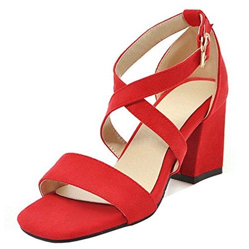 Bloc Red TAOFFEN Briller Sandales Mode Femmes qv1xw1gnF