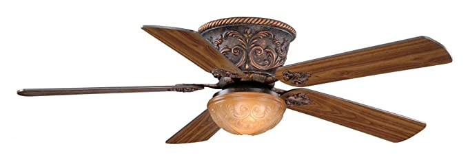 Vaxcel FN52317AR Corazon Flush Mount Ceiling Fan, 52u0026quot;, Aged Bronze  Finish