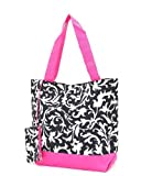 JOLI Damask Insulated Tote Bag – Choice of Colors (Black/Fuchsia), Bags Central