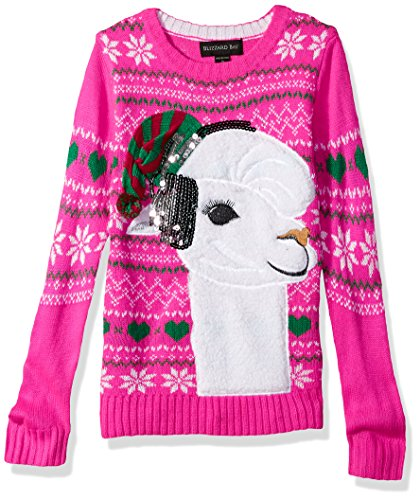 Girls' Big Fuzzy Llama W/Sequin Xmas Sweater