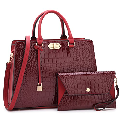 MKP Collection Beautiful and Designer Shoulder handbag with Wristlet,Satchel/purse for woman.Holiday gift for woman. Four Season carry handbag(107581) Wine