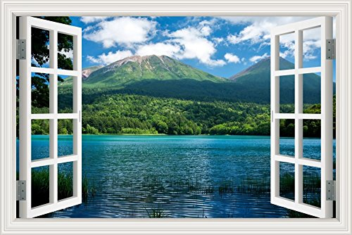 (GreatHomeArt Peel and Stick 3D Wall Decal Sticker Nuature Lake and Mountain Scenery Window View Home Décor Art Removable Wall Murals for Living Room - 32x48 inches)