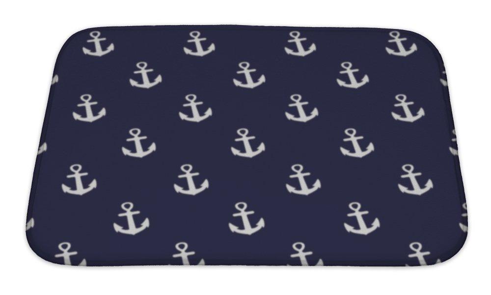 Gear New Bath Rug Mat No Slip Microfiber Memory Foam, Navy Blue and White Anchors Nautical Theme, 24x17