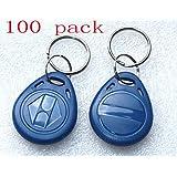 YAVIS 100pcs Keychains 125Khz RFID Proximity Cards EM4100 TK4100 Keyfobs Smart ID Key Ring Keycard For Door Control Entry Access Card Nfc Token Tag Blue