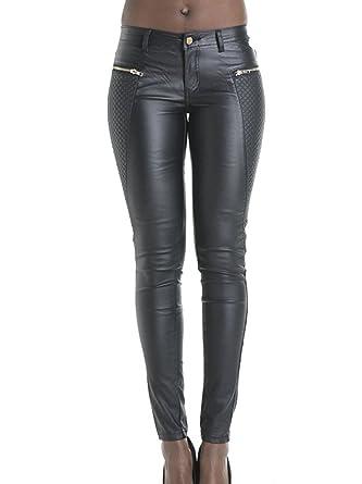 bf1995822dd5 YOYEAH Women's Slim Low Waist Leather Pants at Amazon Women's ...
