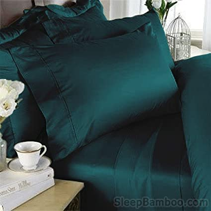 SleepBamboo 320 Thread Count Bamboo Queen Sheet Set, Deep Teal