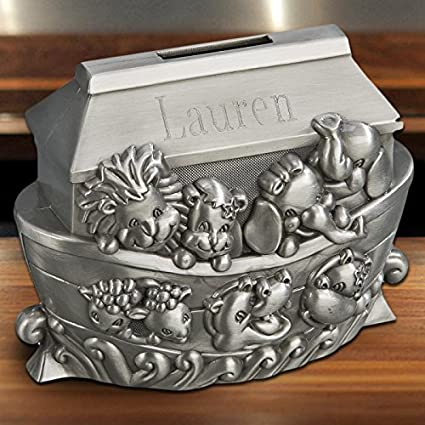 Personalised Noah/'s Ark Square Silver Money Box Birthday and Christenings Gift