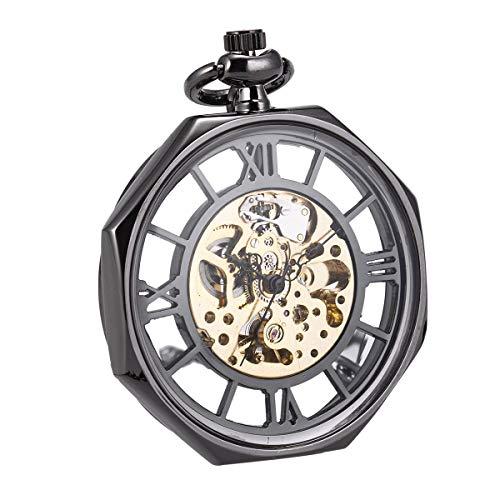 Pocket Watch Automatic Mechanical Open Face Octagon SIBOSUN Antique Mens Roman Numerals Chain Box (2 Gunmetal) (Watch Pocket Automatic Skeleton)