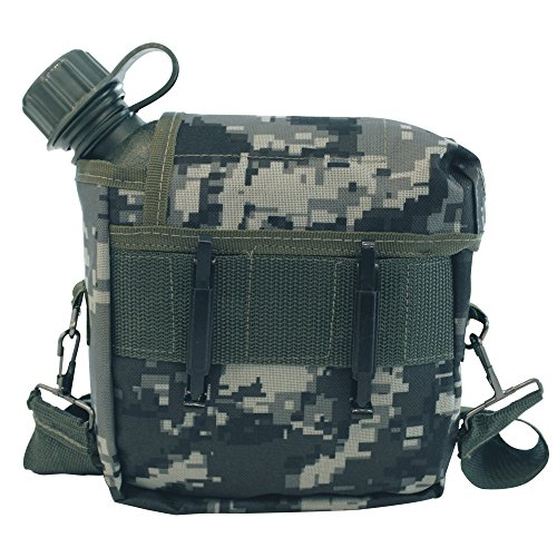 NTK ARK OD Military Style Scout Squared Insulated Cover Canteen 2qt Capacity (Black Pixel)