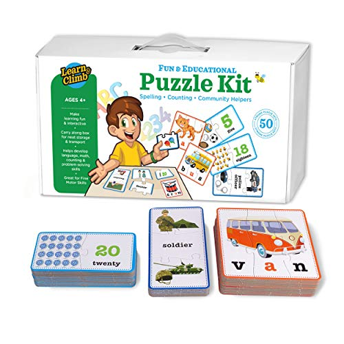 3-in-1 Educational Puzzles for Kids Toys Gift Set. 50 Pieces Puzzle for Boys/Girls Preschool Children, Toddler Ages, 3, 4, 5 Up-2 8-Year-Old. Learning, Counting, Spelling, Numbers, Community Helpers