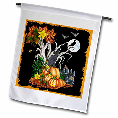 3dRose fl_13069_1 Halloween Night with a Black Cat Creepy Tree Full Moon Bats and Jack O Lanterns Garden Flag, 12 by 18-Inch ()