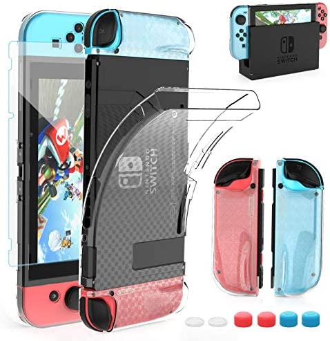 HEYSTOP Case Compatible with Nintendo Switch, Dockable Soft TPU Protective Case Cover for Nintendo Switch with Switch Tempered Glass Screen Protector and six Thumb Grip Caps