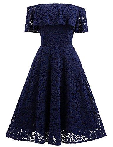 YaoDgFa Sexy Damen Kleider Spitze Abendkleid Festlich Cocktailkleid  Partykleid Rockabilly Kleid Knielang Kurzarm Off Schulter Retro 3418b50c2a