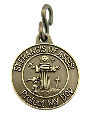 (Pewter Saint Francis of Assisi Protect My Dog Collar Medal, 1 Inch)