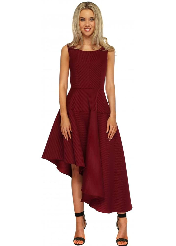 Goddess London Burgundy Textured Asymmetric Midi Length Skater Dress
