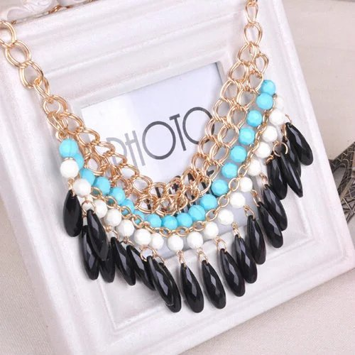 EYX Formula Bohemian style Vintage Jewelry Pendant Chain Crystal Choker ,Colorful beads beaded droplets tassel Punk necklace for Women Ladies Girls