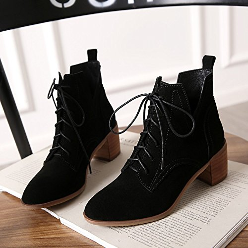 Black Winter Martin With Boots Rough Boots Boots Leather Boots With Head Casual gqPdpUAn