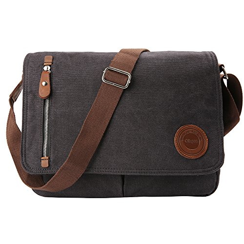 Gibgas Vintage Canvas Messenger Bag Laptop Shoulder Bag Satchel for Men Women School Work (Black-14 Inch) (Satchel Bag)