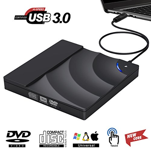 External CD Drive, Kilineo USB 3.0 DVD Burner Reader, 100% New Core External Optical Drives with High Speed Data Transfer for Laptop Air iMac Desktop PC Support Windows10 /8/7 /XP/Mac OS by KILINEO