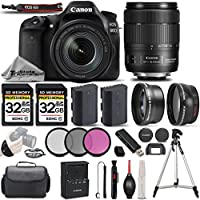 Canon EOS 80D Wi-Fi Full HD 1080P Digital SLR Camera + Canon 18-135mm IS USM Lens + .43x Wide Angle Lens + 2.2X Telephoto Lens . All Original Accessories Included - International Version