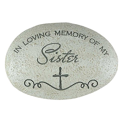 Cheap In Loving Memory of My Sister Cross Grey 3.5 x 5.5 Resin Stone Outdoor Garden Remembrance Rock