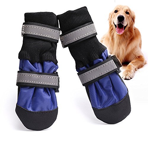 Nylon Dog Booties - Winter Warm Large Big Dog Shoes Waterproof Pet Dog Boots Fleece Pitbull Golden Retriever Rain Shoes With Reflective Tap 4PCS (L, Blue)