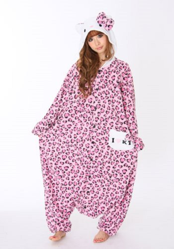 Hello Kitty Leopard Pastel Pink Kigurumi - Adult Fancy Dress (Hello Kitty Custome)