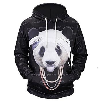 TOPDCLSN Nuevas y Divertidas Sudaderas Moda Hombres/Mujeres 3D Sudaderas Imprimir Cadena Adorable Panda gráfico Sudaderas con Capucha Hoody: Amazon.es: ...
