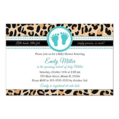 30 Invitations Baby Shower Leopard Animal Print Teal Unisex Personalized Cards + 30 White Envelopes