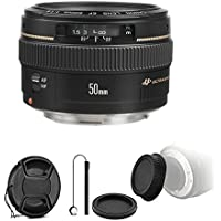 Canon EF 50mm f/1.4 USM Standard Lens for Canon SLR Cameras - Fixed Lens with Camera Accessories