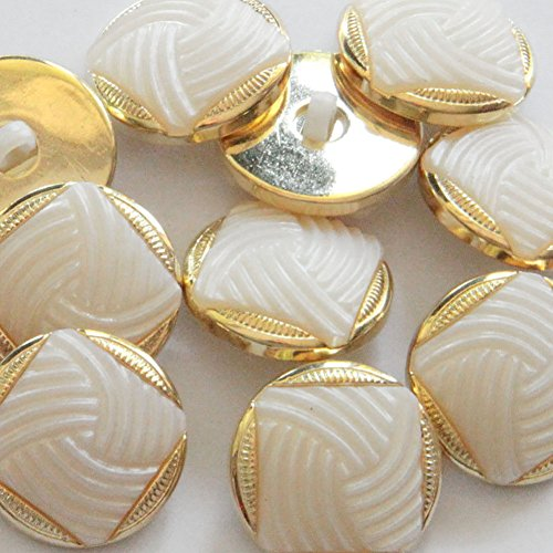 """Fancy & Decorative {21mm w/ 1 Back Hole} 12 Pack of Large Size Round """"Popper Shank"""" Sewing & Craft Buttons Made of Acrylic Resin w/ Pearlized Ivory Swirl & Metallic Trim Design {White & Gold} (Swirl Button White)"""