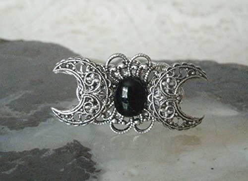 Black Onyx Triple Moon Ring, handmade jewelry wiccan goddess pagan wicca witch witchcraft metaphysical gothic
