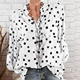 #2: UONQD Women Stand Collar Wave Point Printing Loose Blouse