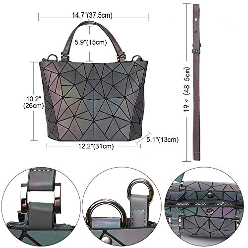 Holographic Handbags and 1 Purse Geometric Messenger Top with Closure Bags Satchel Women Handle Luminous Bag No for Zipper BptwnqqYTE