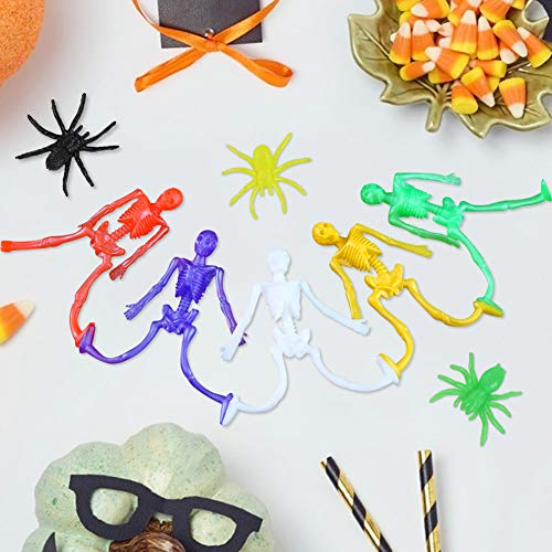 3 otters 57 PCS Stretchy Toys, Stretchy Skeleton Halloween Stretch Skeleton Toys for Kids Fun Party Favors Halloween Funny Toy Candy Bag Fillers in 6 Different Colors