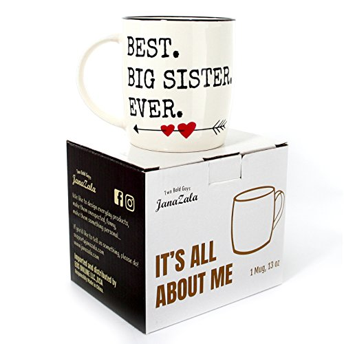 Janazala Best Big Sister Ever Mug, Birthday Gift Idea For Sister, Christmas Gifts For Big Sister, Funny Coffee Mugs Gifts, Christmas Gifts For Big Sister, Ceramic, 13 oz Cup