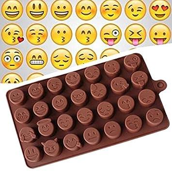 Molde para repostería con diseño de emoji para hacer chocolate, azúcar, dulces, fondant, jabón, gelatina, utensilios de cocina: Amazon.es: Hogar