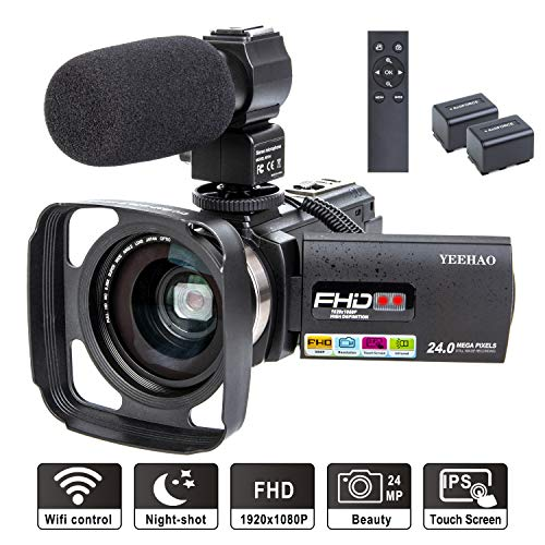 (Camcorder Video Camera YEEHAO WiFi HD 1080P 24MP 16X Powerful Digital Zoom Camera with Microphone and Wide Angle Lens Remote Control Lens Hood Infrared Night Vision YouTube Vlogging Camera Recorder)