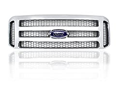 Ford Chrome 05-07 Super Duty/Excursion Grille Fits 99-04 Including XL, XLT, Limited, & Eddie Bauer - Brand New Parts with Factory Clips & Screws- Direct Replacement Modified Grille Kit 1999-2004