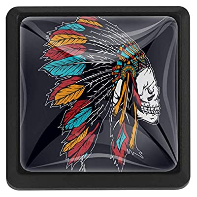 MEETNew 3 Pack Square Cabinet Drawer Knobs with Native American Skull Feathers, Glass Dresser Knob Wardrobe Furniture Door Cupboard Pulls Handles for Home, Kitchen, Kids Room: Home & Kitchen
