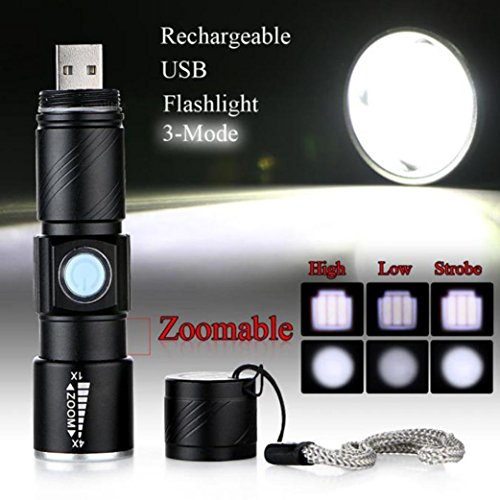 10 principales tactique à LED Lampe de poche, 1000 lumens 3 modes Mini USB rechargeable Super Bright Zoomable Handheld lampe de camping