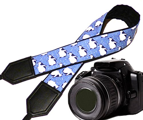 Blue and White Camera Strap DSLR//SLR Camera Strap Durable Light Weight and Well Padded Camera Strap InTePro Penguin Camera Strap Code 00037