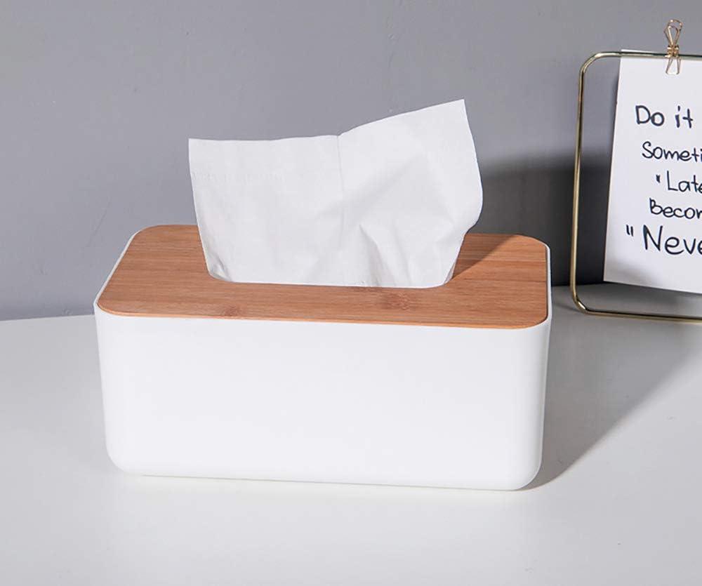 caja de pa/ñuelos redonda blanca con cubierta de madera para el hogar la oficina Ldawy Caja de pa/ñuelos soporte de pa/ñuelos la decoraci/ón automotriz del autom/óvil