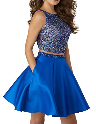 Little Star Satin Blue Sequined Homecoming Dresses Short 2017 For Juniors Two Piece Prom Ball Gown A Line Party Dresses
