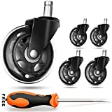 Office Chair Caster Wheels (Set of 5) - Safe for All Floors Including Hardwood- Rollerblade Style w/ Universal Fit-Free Screwdriver - 300 lbs Total Capacity