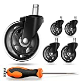 Chair Casters Wheels Replacement Set,5 Pack 3'' Wheel 11mm Universal Fit Stem,Rollerblade Style Heavy Duty Silent Wheel,All Floors Suitable Office Gaming Furniture Swivel Caster Wheel &Withdrawal Tool