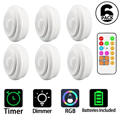 Wireless LED Puck Lights, Kitchen Under Cabinet Lighting with Remote Control, Battery Powered Dimmable Closet Lights (Batteries includes), Multi Color LED Tap Lights for Closets, 6 - Pack